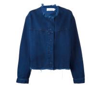 Oversized-Jeansjacke ohne Kragen