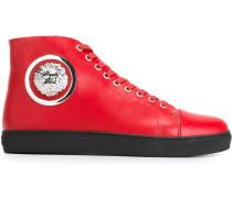 High-Top-Sneakers mit Löwenkopfschild