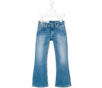 bleach effect flared jeans