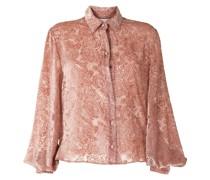 Kylie velvet-flocked paisley-print shirt