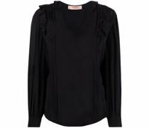 ruffled silk-blend blouse