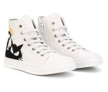 High-Top-Sneakers mit Katzenmotiv
