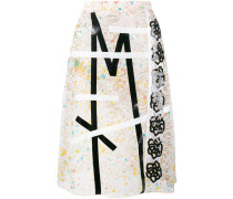 lace embroidered midi skirt