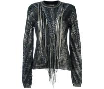 Metallic-Pullover mit Fransen