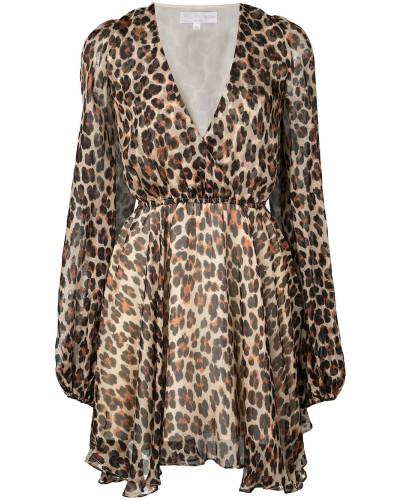 plunge leopard print mini dress