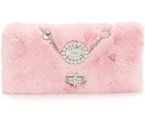 embellished fur clutch bag