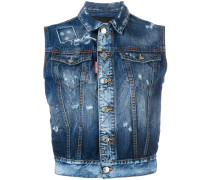 Jeansweste in Distressed-Optik
