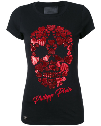 T-Shirt mit Totenkopf-Applikation - women