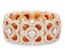 18kt Rotgoldring mit Karneol und Diamanten