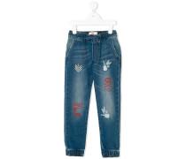 Jeans-Jogginghose mit Print