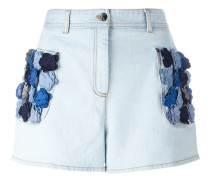 flower appliqué denim shorts