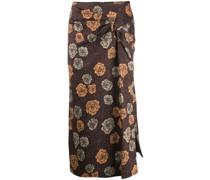 floral-print twist skirt