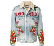 shearling lined denim jacket with embroidery
