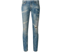 distressed low cut jeans