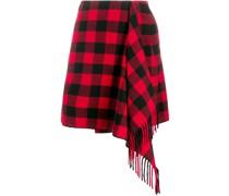 check draped skirt