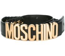 logo plaque whipstitch belt