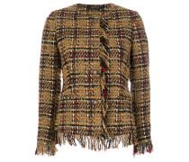 embroidered fringed blazer