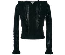 Gerüschter Pullover mit Zopfmuster