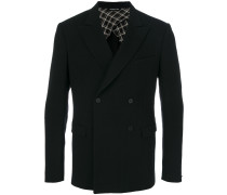 double-breasted fitted suit jacket