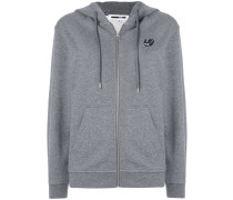 Swallow patch front zipped hoodie