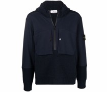 knitted panelled zip-up hoodie