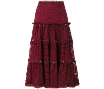 tiered embellished lace midi-skirt