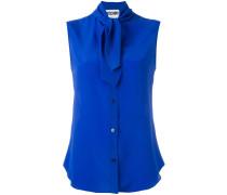 sleeveless neck tie blouse