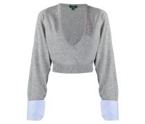 Cropped-Pullover mit V-Ausschnitt