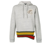patch hoodie with double waistband