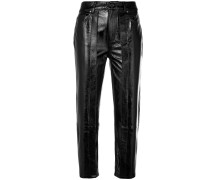 cropped waxed trousers