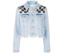 checkered sequin denim jacket