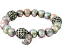 18kt Weißgoldarmband mit Diamanten und Perlen