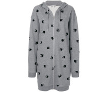 swallow print zipped hoodie