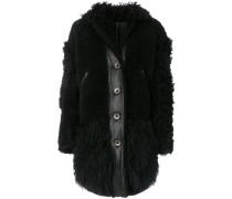 buttoned shearling coat