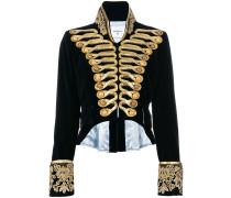 cropped velvet military jacket
