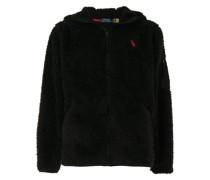 logo-embroidered fleece hoodie