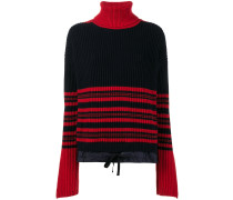 high-neck striped knitted jumper