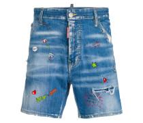doodle print denim shorts