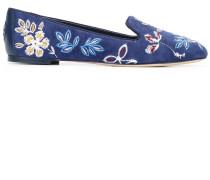 Slipper mit Blumenstickerei