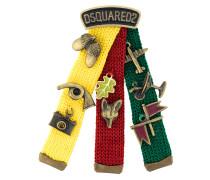 embellished knit badge pin