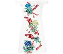 Schulterfreies Kleid mit Blumen-Stickerei