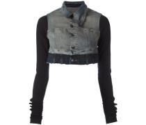 Cropped-Jeansjacke mit Kontrastärmeln