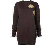 metallic patches loose-fit jumper