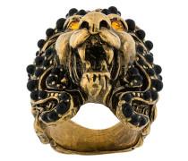 Löwenkopfring mit Swarovski-Kristallen