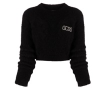 Cropped-Pullover mit Logo-Print