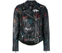 - graffiti biker jacket - women - Leder/Viskose