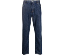 Gerade Jeans mit Logo-Schild