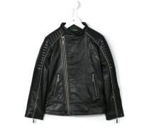 logo print biker jacket