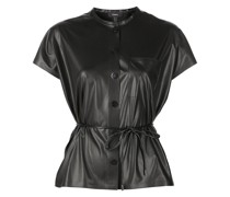 faux-leather belted T-shirt