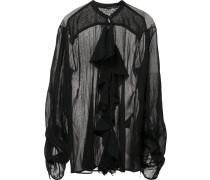 Semi-transparente Bluse mit Rüschen